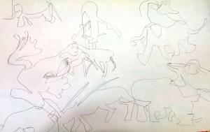 Blindzeichnen Tiere II Kinderkurs 2014-09-24