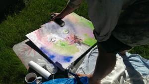 Malen mit Sprays im Garten 2014-09-26