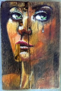 Sad Girl on wood 2014-09-17