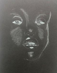 Portrait auf schwarzem Papier SN 2015-04-08