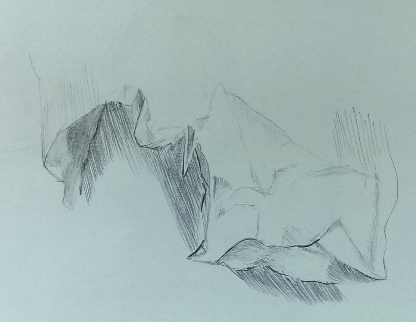 zerknülltes papier zeichnen