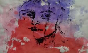 Gesicht mit schwarz, Holzspiess 2015-06-16