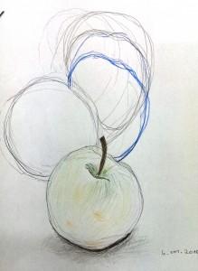 Amalia Blindzeichnen Äpfel 2015-10-06