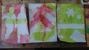 Antonia Serie Kinder Gelatineplatte Monotypie 2015-10-14