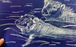 Doris Eisbären weiß auf blauem Papier 2016-03-30
