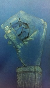 Susi Eigene Hand auf blauem Papier 2016-03-30