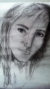 2017-05-04 Birgit Gesicht mit Bleistift und Kohle unfertig