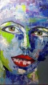 Magdalena Gesicht in Blautönen