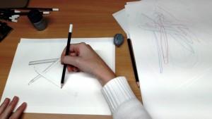 Bleistiftmikado_3 mit Blindzeichnungen