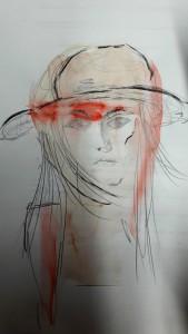 Helene Porträt mit Aquarell