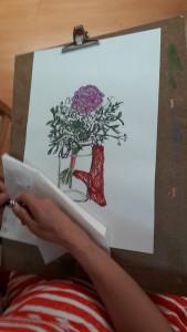 2018-05-29 Christiane Vase Blumen mit Handschuh Pastell
