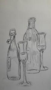 2018-05-29 Marianne schnelle Skizze Flaschen und Gläser