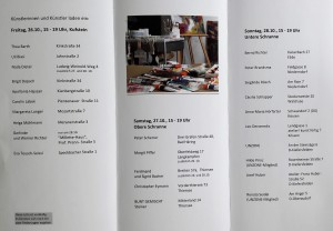 Flyer Offenes Atelier Seite Innen mit Künstleradressen